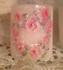 Hp Shabby Cottage Roses Candle Heart French Chic Victorian Hand Painted Pink