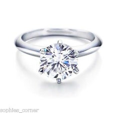 1 ct. White Sapphire 6 Prong Solitaire Engagement Ring ~ Sterling Silver