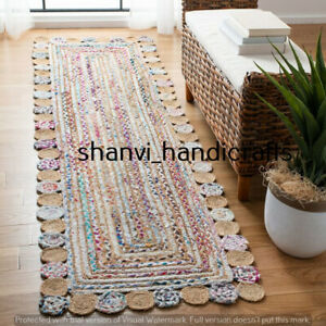Hand Woven Jute Cotton Rug Rectangle Rag Rug Braided Rug Home Decor 2x3 Feet Rug
