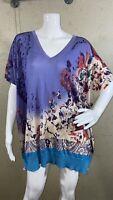 ETRO Oversized V-Neck Poncho Top Floral Paisley 100% Silk Women's Size M
