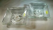 """ANCHOR HOCKING GLASS CO. MANHATTAN CRYSTAL PAIR 4-1/2"""" SQUARE CANDLE HOLDERS"""