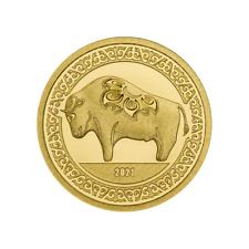 GOLD COIN YEAR OF THE OX 9999 GOLDMÜNZE 2020   MONGOLEI 1000 TOGROG w/ BOX / COA