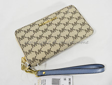 Michael Kors Jet Set Travel Multi-Function Phone Wallet/Wristlet Natural/Denim