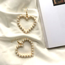 Sweet Heart Simulated Pearl Earrings For Women Statement Drop Earrings Jewelry