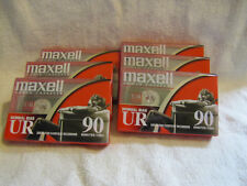 6 NEW Vintage Maxell UR 90  normal bias Cassette Tapes - individually Sealed