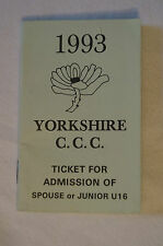 Cricket Collectable - 1993 - Yorkshire -Tickets for Admission Book -Lady or Jun.