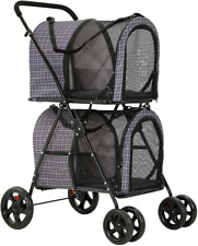 4 Wheels Double Pet Stroller Cat Dog Carrier Strolling w/ Suspension System New