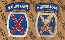 US Army 10th Mountain Infantry Division patch w/ tab set m/e