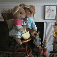 "Rare Vtg. Eden Toys Beatrix Potter Peter Rabbit & Mrs.Rabbit Huge 26"" Plush Pair"