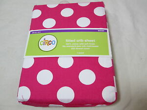 New Circo Cotton Fitted Crib Sheet DOT - 200 Thread Count  - Pink & White NEW