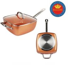 Square 5 Piece Set Copper Non Stick Frying Pan Steamer Casserole Induction Base