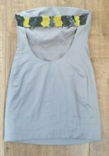 Ted Baker grey silver bandeau mini dress size 1 uk 8 open back beaded pocket d6