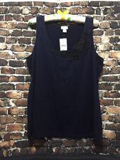 J.Crew Tank Top Embroidered Flower Navy Blue Sleeveless Shirt Sz M style C9745