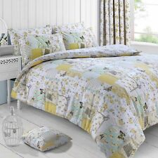 Boutique Floral Butterfly Duver Cover Reversible Bedding Set Vintage Style Lemon