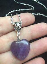 """3D Amethyst Stone Heart Necklace 24"""" Chain Silver Native American Love Protect"""