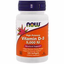 Now Foods, la vitamina D-3, de alta potencia, 5,000 UI, 120 Cápsulas