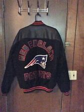 Black Wool and Leather New England Patriots Jacket