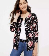 NWT ANN TAYLOR LOFT Garden Signature Cardigan Sweater $60 Sz XS Black Floral 913
