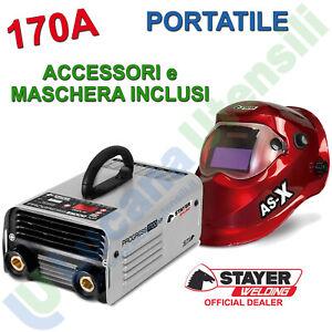 Saldatrice Inverter ad Elettrodo 170A STAYER Accessori Maschera PROGRESS 1700XP