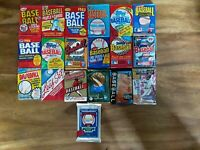 Lot of 50+ Unopened Old Vintage Baseball Cards in Wax & Foil Packs-Huge Variety!
