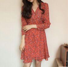 Cherrykoko Korean Fashion Red Floral Dress