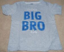 NWT Boys Size 24 Months COOLEST BIG BRO EVER T-Shirt Gray Short Sleeves