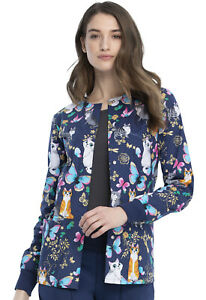 Cherokee Prints Snap Front Warm-up Jacket CK301 PUDY Purr-fect Day Free Ship