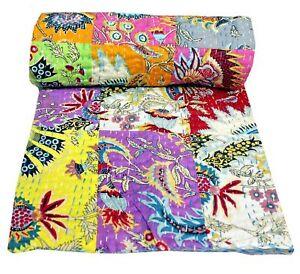 Indian Cotton Handmade Patchwork Kantha Quilt Floral Print Bedspread Vintage Art