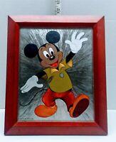 MICKEY MOUSE WALT DISNEY PRODUCTIONS VINTAGE FOIL ART WOOD FRAMED WALL/DESK VTG