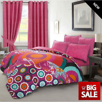 BOHEMIAN Holiday Duvet Covers, Eyelet Ring Top READY MADE Curtain Pair FREE Ties