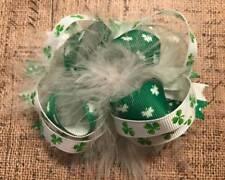 "Green White St Patrick's Day Shamrock Marabou Hair Bow 4"""