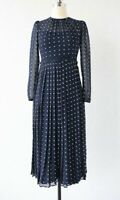 New LK Bennett Avery Navy Polka Dot Midi Dress UK 8,10,12,14,16