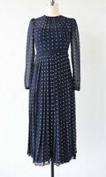 New LK Bennett Avery Navy Polka Dot Midi Dress UK 8,10,12,14,16