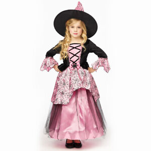 ★ Rosa Hexe Hexenkleid Spiderella Kostüm 98-152,Vampira Kleid mit Hüt