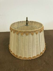 Vintage Lamp Shade ruffled beige gold mid century modern round tapered cloth 50s