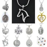 Handmade Retro Letter Silver Tone Animal Horse Heart Religious Necklace Pendant