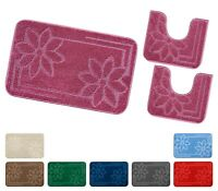 Tappeto bagno PARURE set 3 pezzi antiscivolo shaggy fiori girowater mod.MOOREA 6