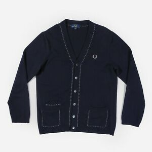 """Fred Perry Cardigan Merino Wool Cashmere Knit Jumper Italy Navy Men's 40"""" Large"""