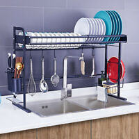 Over Sink Dish Drying Rack Stainless Steel Cutlery Drainer Kitchen Storage Shelf