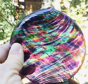 Beautiful Hand Blown Glass Sun Catcher Disc By Little River Hot Glass Studio