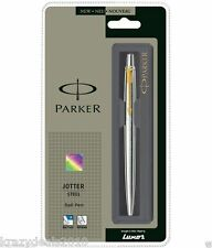 Parker Jotter Steel GT Gold Trim Ball Point Pen, Blue Ink, Fine Tip 0.8mm, New