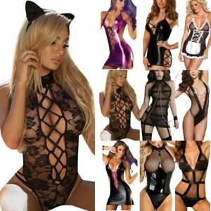 Sexy Women Lace Hollow Out Lingerie Bodycon Nightwear Clubwear Outfits Sleepwear