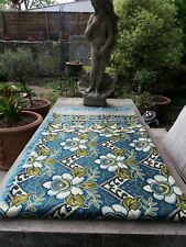 TAPESTRY STYLE  BLUE FLORAL SOFA THROW/COTTON WOVEN KING SIZE BLANKET /2 PILLOW