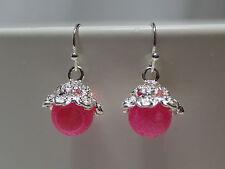 Pink Achat Ohrringe Ohrhänger Blümchen / Tiny Flowers versilbert