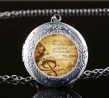 Music Note Photo Glass Tibet Silver Chain Locket Pendant Necklace#U42