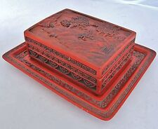 """4.7"""" Chinese or Japanese Antique Cinnabar Red Lacquer Trinket Box w/ a 6.9"""" Tray"""