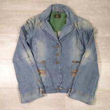 Ladies LEE Vintage Stonewash Blue Fitted Denim Jacket Medium #E2915