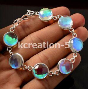 Beautiful Sea Blue Rainbow Topaz 925 Silver Plated Bezel Hook Bracelet Jewelry