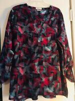 Van Heusen Women's Top Navy Pattern Blouse V-Neck Pullover XL