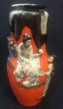 "Japanese Sumida Gawa 12"" Signed Vase Geishas & Children"